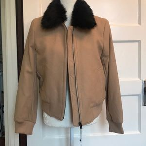Tan bomber jacket with removable fur trim, Small